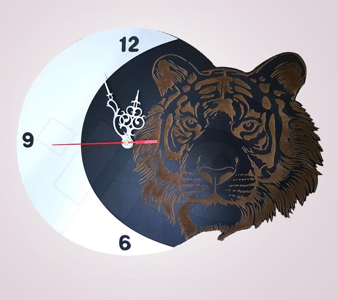 خرید ساعت فانتزی چوبی طرح ببر